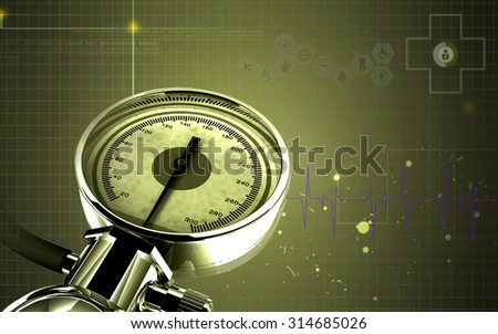 Digital illustration of sphygmomanometer in co lour  background  - stock photo