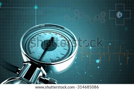 Digital illustration of sphygmomanometer in colour  background    - stock photo