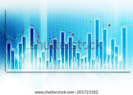 Digital illustration of Stock market graph