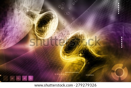 Digital illustration of synapse in colour background  - stock photo