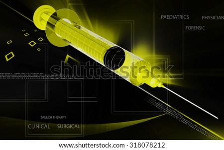 Digital illustration   of syringe in colour background - stock photo