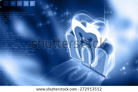 Digital illustration of teeth   in colour  background   - stock photo