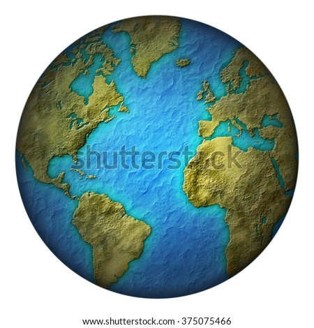 Digital illustration of the earth with green land and blue seas. Includes a clipping path.