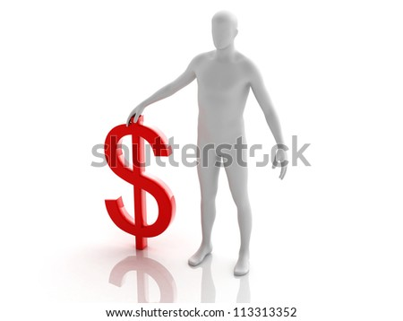 Digital illustration of the man with dollar in white background / Dollar & Man