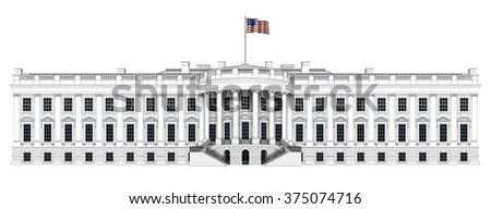 Digital illustration of the south view of the White House expanded to almost twice its normal width. Includes a clipping path. - stock photo