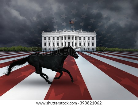 Digital illustration of the White House, a flag design, and a dark horse representing a relatively unknown candidate who arises to win a presidential nomination or election. - stock photo