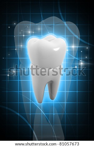 Digital illustration of tooth in color background - stock photo
