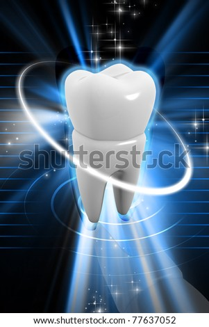 Digital illustration of tooth in colour background - stock photo