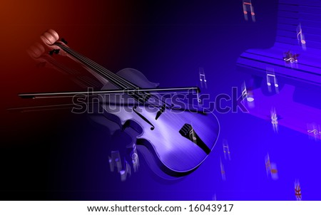 Digital illustration of violin and bench