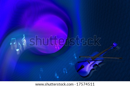 Digital illustration of violin and tunnel background