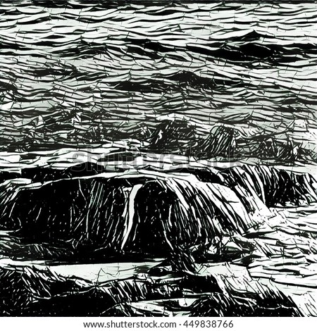 Digital illustration - The wave and stone sketch. Black and white marine landscape. Beach view to the sea waving. Rock under water flow. Nautical picture in ink hatching style. Tropical island nature
