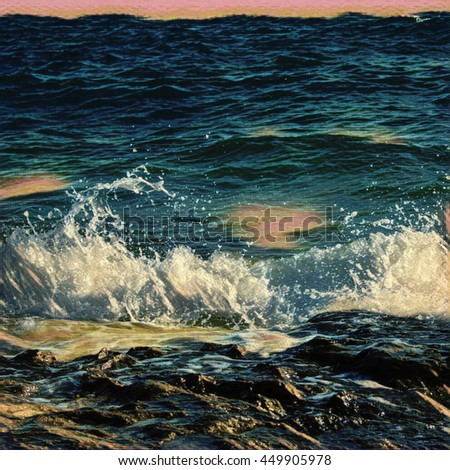 Digital Illustration Wave Bubbles Ocean Waves Stock