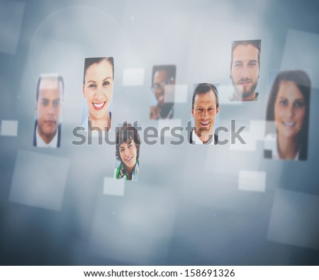 Digital interface showing profile pictures of cheerful people - stock photo