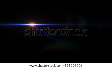 Digital lens flare  effect in space on black background. light leaks, overlays