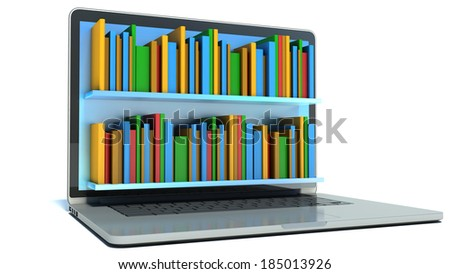 digital library - books and computer  - stock photo
