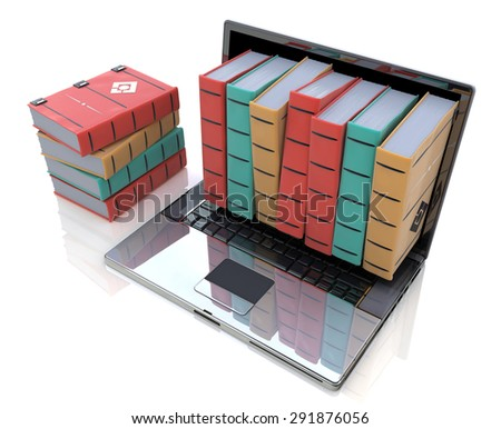 Digital library - Colored books inside computer  - stock photo
