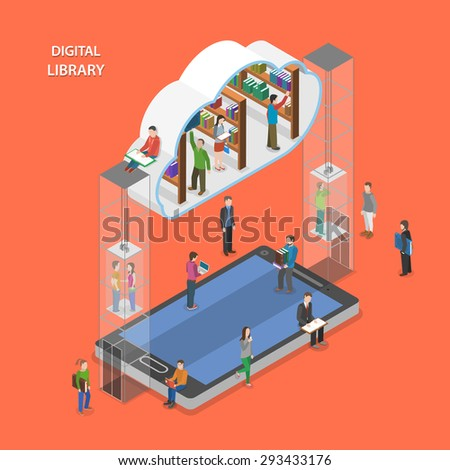 Digital library flat isometric concept. People going to cloud library through mobile device. - stock photo