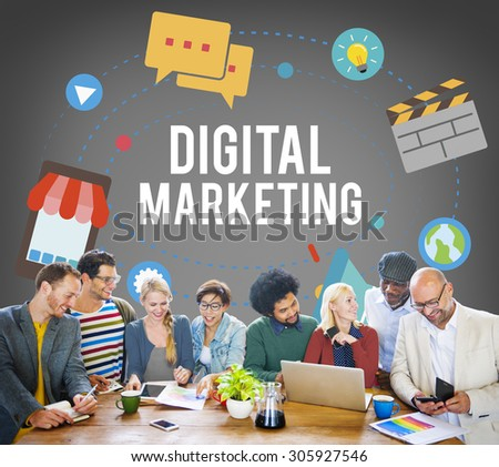 Digital Marketing Communication Connection Advertising Concept - stock photo