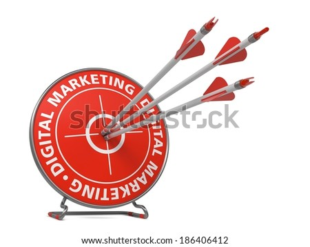 Digital Marketing Concept. Three Arrows Hit in Red Target. - stock photo