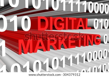 digital marketing is presented in the form of binary code  - stock photo