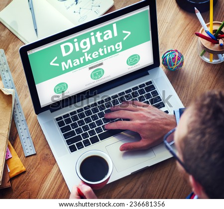 Digital Marketing Online Working Office Concept - stock photo