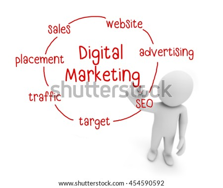 digital marketing text ,business man writing digital marketing concept ,Man explain components of digital marketing, 3d rendering - stock photo