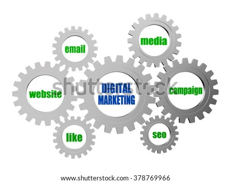 digital marketing, website, email, media, campaign, seo, like - text in 3d silver grey metal gear wheels, business technology advertise conceptual words - stock photo