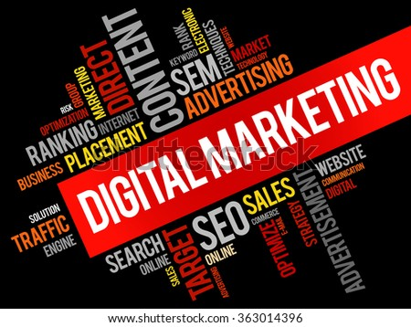 Digital Marketing word cloud, business concept - stock photo