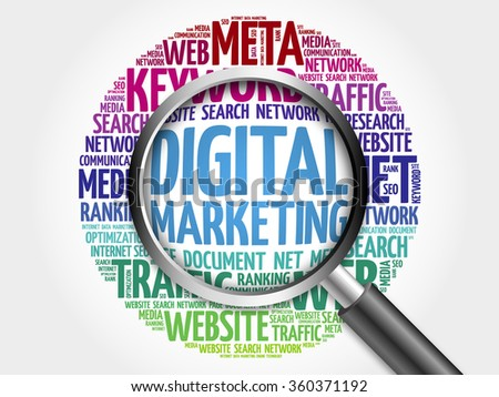 DIGITAL MARKETING word cloud with magnifying glass, business concept - stock photo