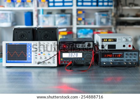 Digital measurements devices - stock photo