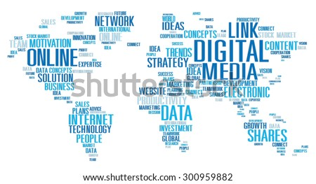Digital Media Connecting Content Network Technology Concept