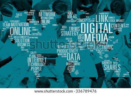 Digital Media Social Media Network Technology Electronic Concept - stock photo