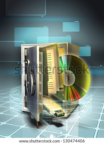 Digital media stored in a safe. Digital illustration. - stock photo