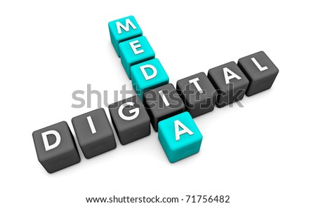Digital Media Used on the Internet as a Concept - stock photo