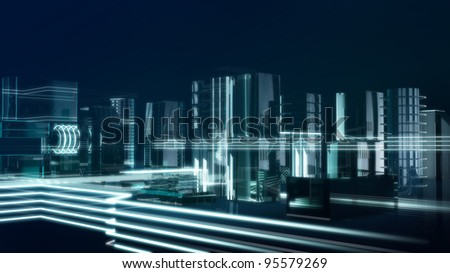Digital metropolis - stock photo