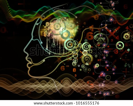 Digital Mind series. Composition of silhouette of human face and technology symbols on the subject of computer science, artificial intelligence and communications