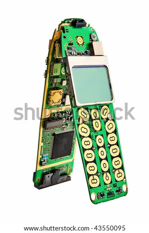 Digital mobile phone printed boards with lcd display. - stock photo