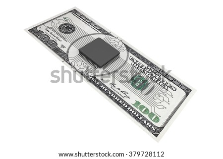 Digital Money Concept. Microchip with circuit over Dollars Bill on a white background