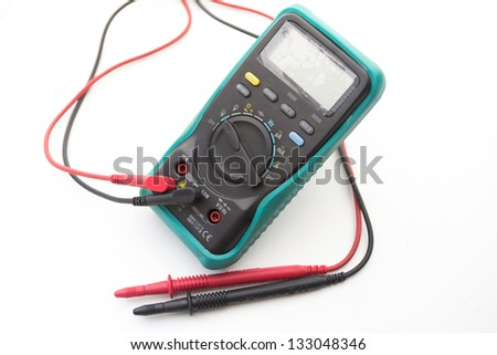 digital multimeter for determining electrical current. on white background