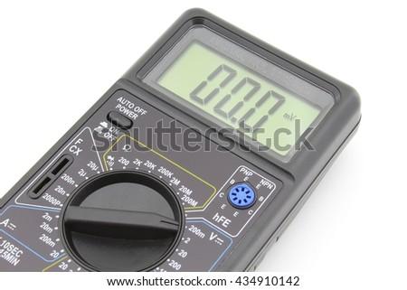 Digital multimeter, isolated on white - stock photo