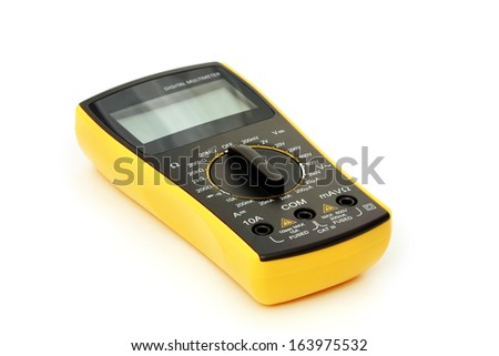 Digital multimeter on a white background - stock photo
