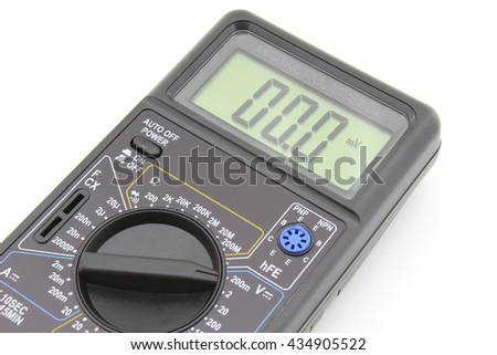 Digital multimeter with probes, isolated on white - stock photo