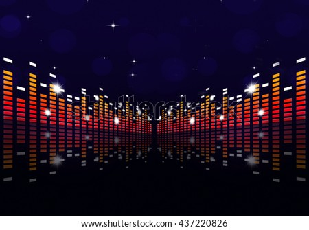 digital music equalizer on blue background for party events - stock photo