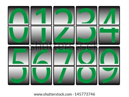 digital-numbers-0-9-green - stock photo