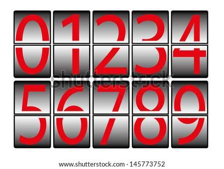digital-numbers-0-9-red - stock photo