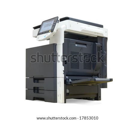 digital office printer. Isolated on white with clipping path - stock photo