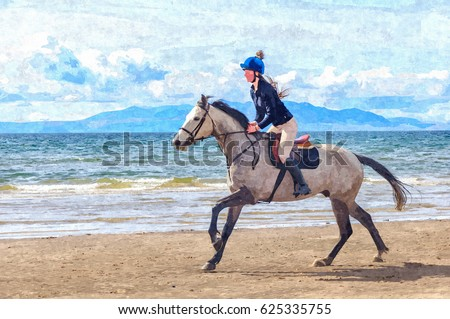 Digital Oil Painting From A Photograph Of Galloping Horse With Female Rider On