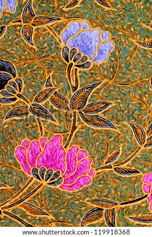 Digital Oil Painting  Of Beautiful Batik Patterns