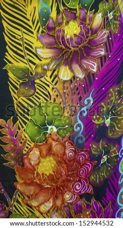 Digital oil painting of beautiful sutera batik patterns. - stock photo