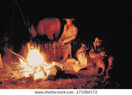 Digital oil painting of two cowboys sitting at campfire, digital oil painting - stock photo